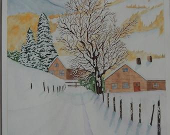 "Watercolor snow landscape: ""Town under the snow"""