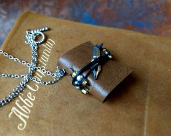 Booklace: Miniature Fully Functional Book Jewelry for Writers, softbound with leather and pen charm