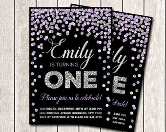 Girl Birthday Invitation 1st Birthday Invitation Purple And Silver Confetti Invitation Printable Any Age Invitation Lavender And Silver