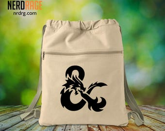 Bag of Holding Canvas Cinch Bag - Cotton Canvas Drawstring Bag - Dungeons and Dragons Inspired Bag - Custom Bags Available