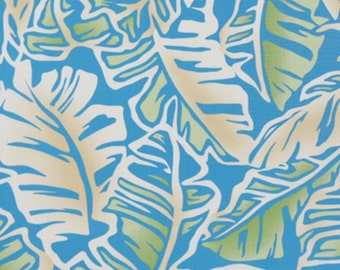 Rayon Fabric Large Leaf Botanical Hawaiian Print, Turquoise Blue 56/57 inches Wide HRN10180, Ask for Bulk