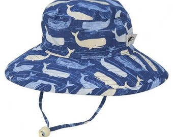 Child's Sun Protection Sunbaby Hat - Cotton Print in Whale (6 month, xxs, xs, s, m)