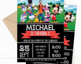 Mickey Mouse Clubhouse Birthday Invitation - Editable Design, Group - Red and Black  - Download - 5x7, Mickey, Daisy, Goofy, Donald, Minnie