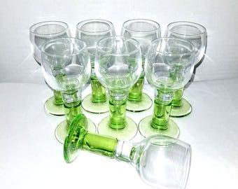 Cordial Glasses,Set of 8,Italy,Bormiolo Rocco,Green Stem,Apertiff,Cordial Glasses,Stemware,Sherry,Snifters,Hand Blown,Barware,Green Stemware