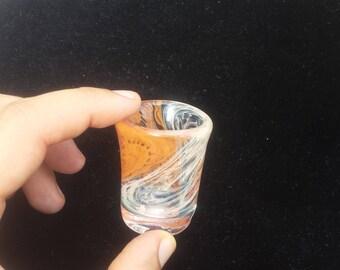 Handblown Shot Glass 24k Gold 999 Silver Fumed