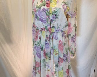 Vintage Henry Lee Women's Floral Dress Sundress with Ruffled Neck and Long Sleeves