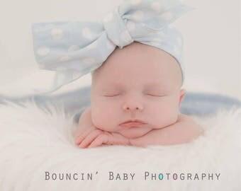 DOTTIE SKY BLUE Gorgeous Wrap- headwrap; fabric head wrap; polka dot head wrap; boho; newborn headband; baby headband; toddler headband