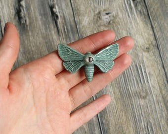 Blue-Green Magic Moth Brooch - Witch's Familiar Spirit Moth With Eye On His Back
