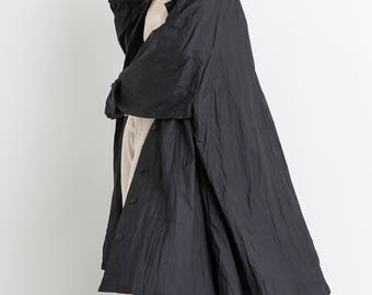 80s Black Avante Garde Swing Trench