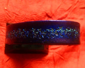 Leather Bracelet, Blue Metallic, engraved and painted by hand