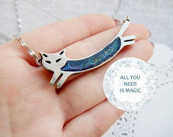 Cat Jewelry Cat Necklace inspirational Space Necklace Blue necklace Space jewelry Cat Pendant Cat lover gift Animal lover gift Star jewelry