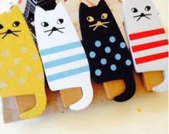 Cute Kawaii Cat Wooden Zakka Photo Holder Pegs /Cat Pegs/ Clips/ 4 Pcs