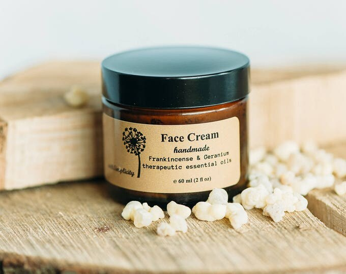SAMPLE Organic Face Cream with therapeutic grade Frankincense and Geranium essential oils