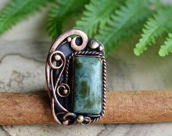 Wire wrapped ring, jasper ring, statement ring, copper ring, wire wrapped jewelry, art nouveau ring, green jasper jewelry, ocean jasper