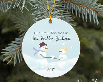 Our First Christmas as Mr and Mrs Ornament First Christmas Ornament Married Personalized Christmas Ornament Snowman Couple Newlywed Gift