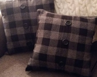 Black/Gray Buffalo Plaid Flannel Pillow, Toss Pillow, Throw Pillow, Decorative Pillow