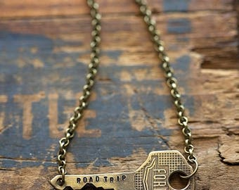 Vintage Ford Car Key Road Trip Necklace | Hand Stamped Vintage, Repurposed, Sideways, Horizontal Boho Travel Adventure Jewelry Gift