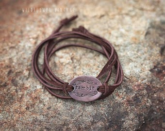 Ramble Suede Leather Wrap Bracelet | Hand-Stamped Copper Chocolate Brown Customized Initial Jewelry Outdoorsy Feather Free Spirit