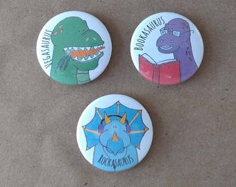Dinosaur Buttons or Magnets; Vegetarian button, Book button, Music button