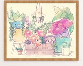PokeGarden Print | Poster | Pokemon | Garden | Succulent | Plants | Wall Art | Watercolor | FREE SHIPPING