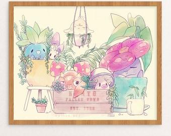 PokeGarden Print | Poster | Pokemon | Garden | Succulent | Plants | Wall Art | Watercolor | FREE SHIPPING
