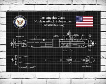 USS Los Angeles Class Submarine Art Print Poster - Naval Wall Art - War Ship Art - Military Art - US Navy Nuclear Attack Submarine
