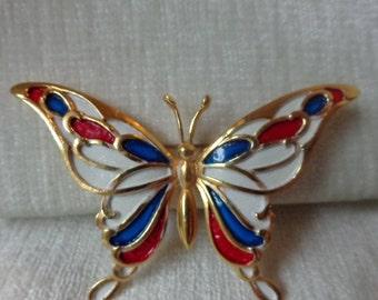Vintage enamel butterfly brooch, pin
