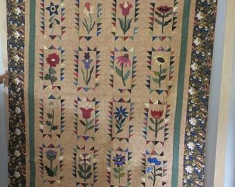 Handmade Wildflowers Quilt Throw Blanket OOAK