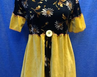 Ladies OOAK stretch yellow black velour long top/dress size 10 UK