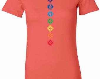 Yoga Clothing For You Diamond Chakras Womens Longer Length Tee T-Shirt = 6004-DIAMONDCHAK