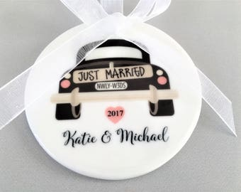 Just Married Ornament, Wedding Car Ornament, Wedding Car Ornaments, Wedding Ornaments, Wedding Ornament, Wedding Gift, Wedding Gifts