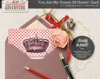 Queen Of Hearts, Printable Card, For Her, Digital Printable Postcard, You Are My Queen Of Hearts, Instant Download, Vintage, Crown, Banner