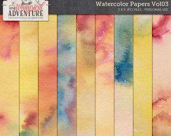 Hand Painted Watercolor Papers, Digital Download, Printable Paper, Mixed Media, Multicolor Paper Pack for Scrapbooking and Art Journaling,