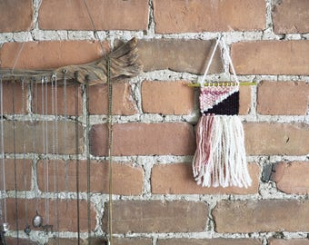 Woven Wall Hanging Pink and White with Black Accents