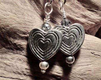 Adorable Valentine Earrings, Heart shaped dangle with blue crystal Earrings