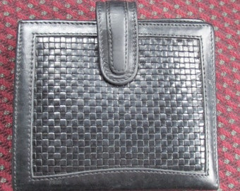 Coach Wallet Black Leather Clutch-type with Woven Leather Design