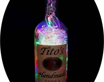 Upcycled Tito's Vodka Mood Therapy Liquor Bottle Light w/100 Multi-Color LED's Topped Off with an Asfour 30% Leaded Clear Crystal Prism Ball