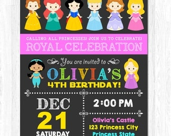 Princess Invitation, Disney Princess Invitation, Birthday Princess Invitation, Disney Princess Birthday Party
