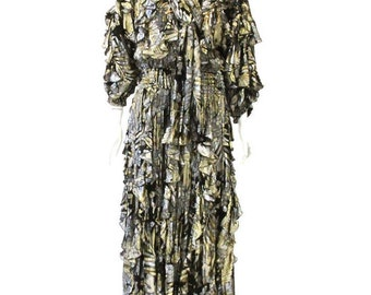Original Diane Freis full length, floral, gold lame evening dress