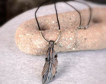Sculpted Feather Pendant Necklace in Silver, Bronze and Black Colors on Leather Cord with Metal Beads, Polymer Clay Jewelry