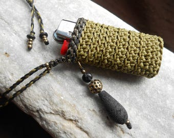 Lighter case necklace - crochet lighter holder khaki+black/gold Lurex with Lava & Brass - neck purse for mini bic - gift idea for smokers