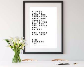 TIM BERNERS LEE, tim berners-lee, funny engineer gift, science gift, nerdy print, geek print, computer programmer, admin, 8x10 print