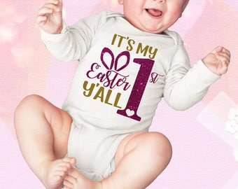 Its My 1st Easter Y'all  Newborn Baby Infant Bodysuit Creeper Romper Girl Southern Holiday Gift Idea First Easter