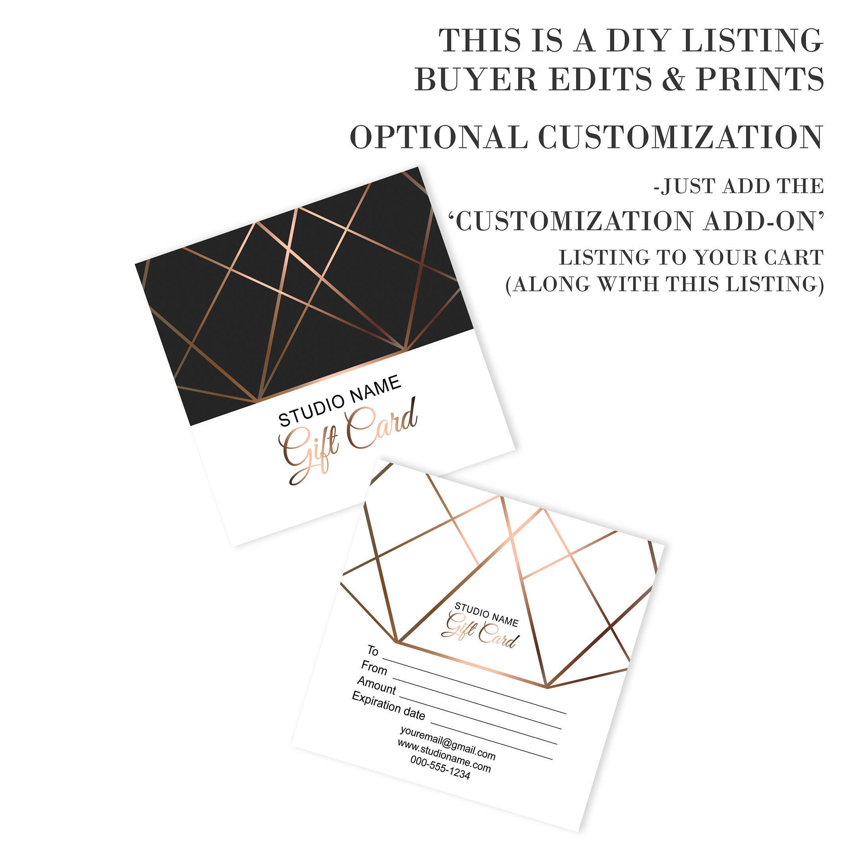 Editable Elegant Gift Certificate Template Geometrical Copper Gold