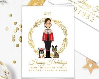 Pet Portrait Christmas Card / Holiday Card Cartoon Illustration, Ugly Sweater, Santa Hat Dog, Reindeer ▷ Printed Heavy Paper {or} Printable