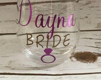Bridal party wine glasses, Bridesmaids, wine glasses