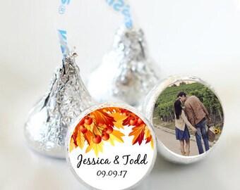 108 Fall Leaves Hershey Kiss® Stickers - Hershey Kiss Stickers Wedding - Fall Wedding Favors - Personalized Wedding Favors - Fall Leaves