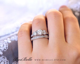 3.33 ct.tw Bridal Set Ring-Brilliant Cut Diamond Simulants-Bridal Set Ring-Wedding Set Ring-Promise Ring-Solid Sterling Silver [61286-2]