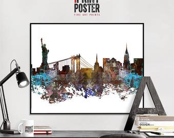 New York City art print, New York City affiche, New York City skyline kunst, NYC noodlijdende wall art, reizen interieur, home decor, iPrintPoster