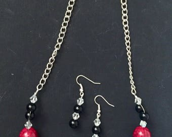 Red clay bead necklace and earring set